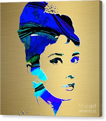 Audrey Hepburn Gold Series Canvas Print by Marvin Blaine