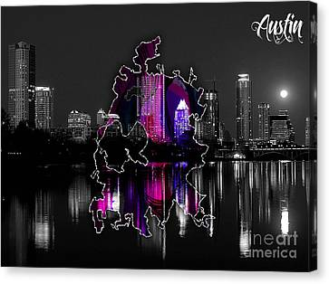 Austin Map And Skyline Watercolor Canvas Print by Marvin Blaine