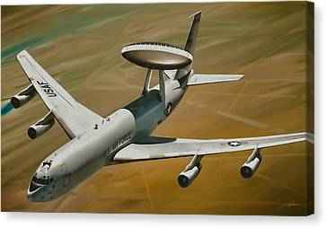 Dale Jackson Canvas Print - Awacs Up For A Drink by Dale Jackson