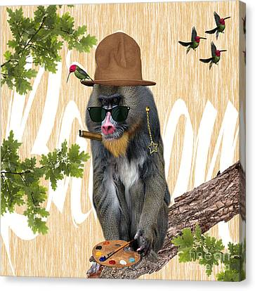 Wildlife Art Canvas Print - Baboon Collection by Marvin Blaine