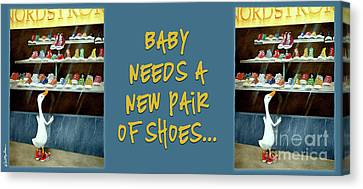 Tennis Shoe Canvas Print - baby needs a new pair of shoes...PRINT by Will Bullas