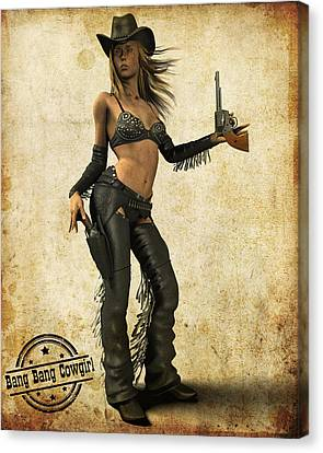 Bang Bang Cowgirl Canvas Print by Frederico Borges
