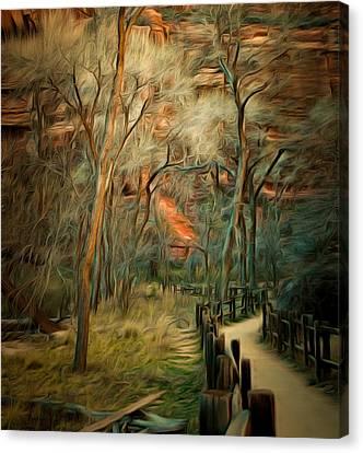 Split Rail Fence Canvas Print - Split Rail Fence Zion by Barbara Snyder