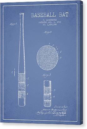 Baseball Canvas Print - Baseball Bat Patent Drawing From 1923 by Aged Pixel