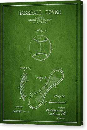 Baseball Canvas Print - Baseball Cover Patent Drawing From 1924 by Aged Pixel