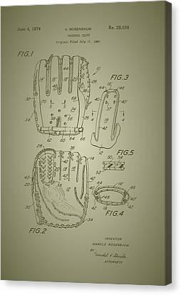 Baseball Glove Patent 1974 Canvas Print by Mountain Dreams