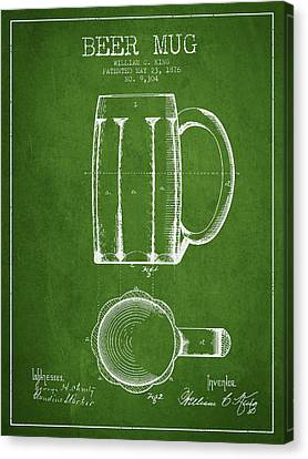 Beer Mug Patent From 1876 - Green Canvas Print by Aged Pixel