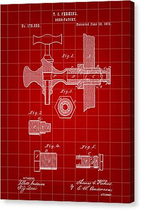Beer Tap Patent 1876 - Red Canvas Print by Stephen Younts