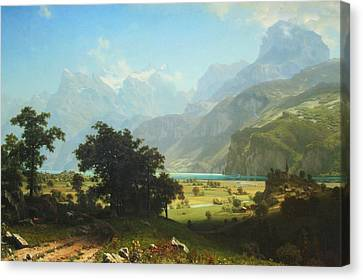 Bierstadt's Lake Lucerne Canvas Print by Cora Wandel