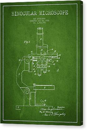 Binocular Microscope Patent Drawing From 1931 - Green Canvas Print by Aged Pixel