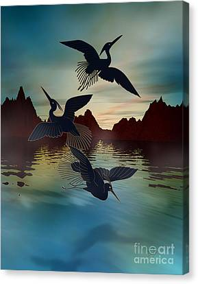 3 Black Herons At Sunset Canvas Print by Bedros Awak