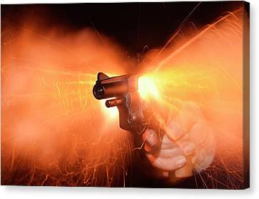 Blank-firing Revolver Canvas Print by Crown Copyright/health & Safety Laboratory Science Photo Library