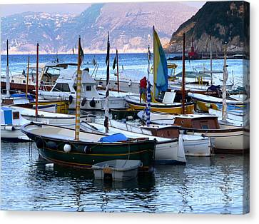 Canvas Print featuring the photograph Boats In The Harbor by Mike Ste Marie