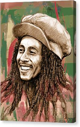 Bob Marley Stylised Pop Art Drawing Potrait Poser Canvas Print