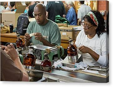 Glass Bottle Canvas Print - Bourbon Bottling Production Line by Jim West