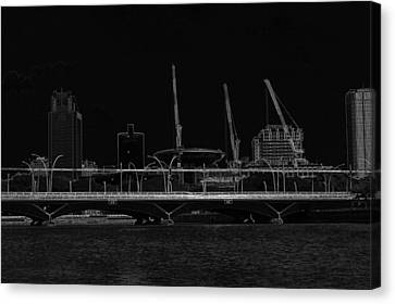 Bridge On The Marina Reservoir And Some Construction Cranes Canvas Print