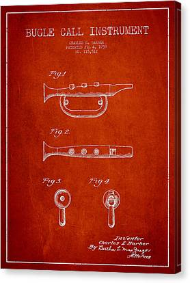 Bugle Call Instrument Patent Drawing From 1939 - Red Canvas Print