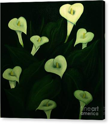 Canvas Print featuring the painting Calla Lilies by John Stuart Webbstock