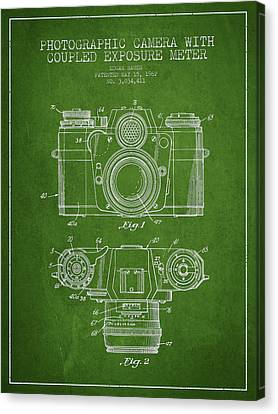 Camera Patent Drawing From 1962 Canvas Print by Aged Pixel