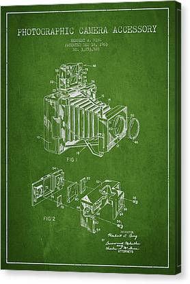 Camera Patent Drawing From 1963 Canvas Print by Aged Pixel