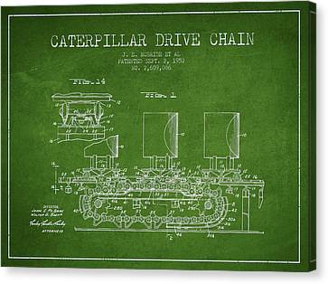 Tractors Canvas Print - Caterpillar Drive Chain Patent From 1952 by Aged Pixel