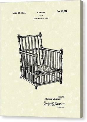 Chair 1932 Patent Art Canvas Print by Prior Art Design