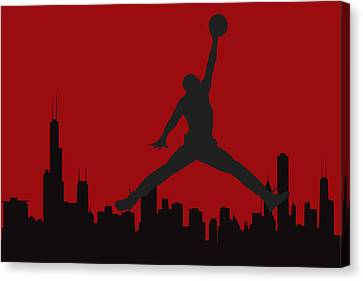 Dunk Canvas Print - Chicago Bulls by Joe Hamilton