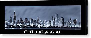 Chicago Skyline At Night Canvas Print by Sebastian Musial