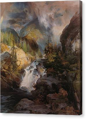 Children Of The Mountain Canvas Print by Thomas Moran