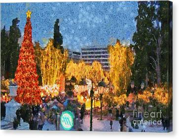 Christmas Night Canvas Print by George Atsametakis