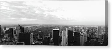 Cityscape At Sunset, Central Park, East Canvas Print by Panoramic Images