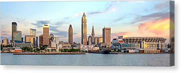 Canvas Print featuring the photograph Cleveland Skyline by Brent Durken