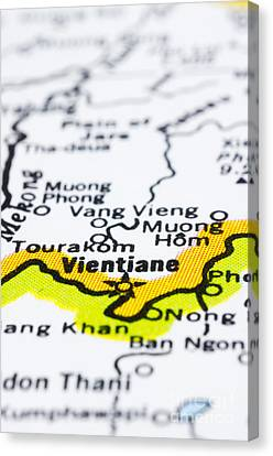 close up of vientiane on map-Laos Canvas Print by Tuimages