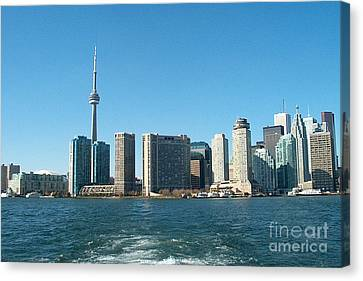 Cn Tower Toronto View From Centre Island Downtown Panorama Improvised With Graphic Artist Tools Pain Canvas Print