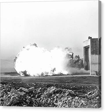 Coal Dust Explosion Experiment Canvas Print by Crown Copyright/health & Safety Laboratory Science Photo Library