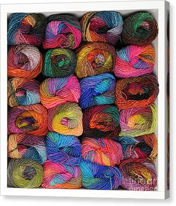 Colorful Knitting Yarn Canvas Print by Les Palenik