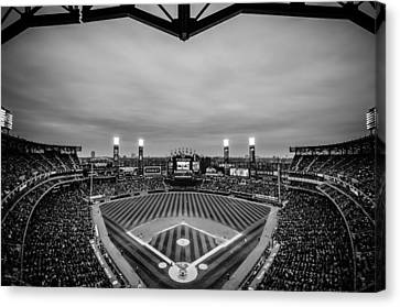 Comiskey Park Night Game - Black And White Canvas Print