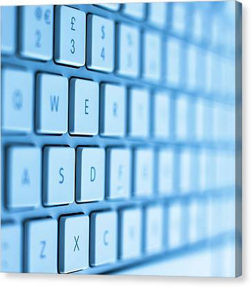 One Point Perspective Canvas Print - Computer Keyboard by Science Photo Library