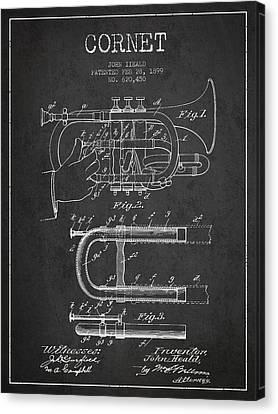 Cornet Patent Drawing From 1899 - Dark Canvas Print