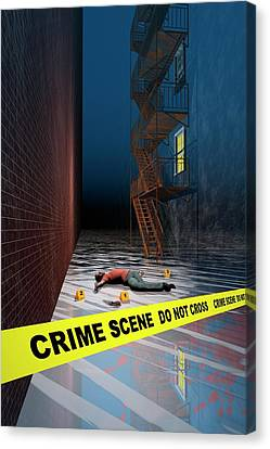 Fire Escape Canvas Print - Crime Scene by Carol & Mike Werner