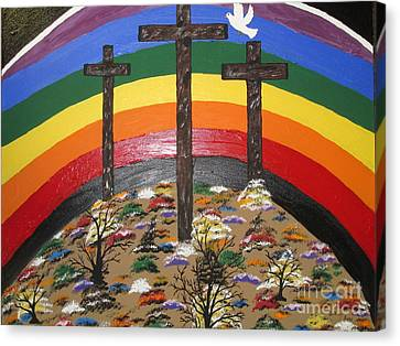 3 Crosses And A Rainbow Canvas Print