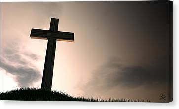 Crucifix On A Hill At Dawn Canvas Print