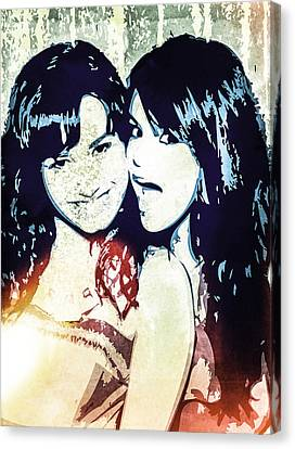 Demi Lovato And Selena Gomez Canvas Print by Svelby Art