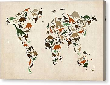 World Map Canvas Print - Dinosaur Map Of The World Map by Michael Tompsett