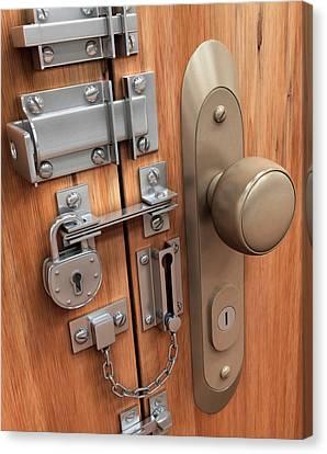 Door With Various Locks Canvas Print