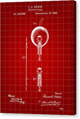 Old Light Bulb Canvas Print - Edison Light Bulb Patent 1880 - Red by Stephen Younts