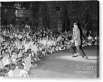 Elvis Presley In Concert At The Fox Theater Detroit 1956 Canvas Print by The Harrington Collection