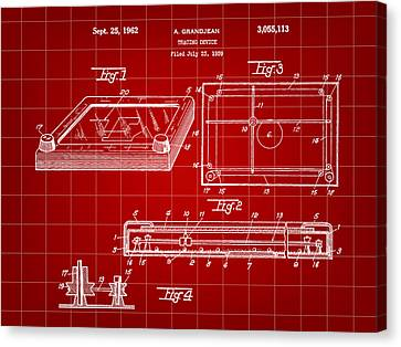 Etch A Sketch Canvas Print - Etch A Sketch Patent 1959 - Red by Stephen Younts