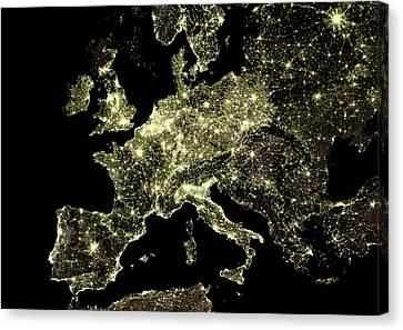 Europe At Night Canvas Print
