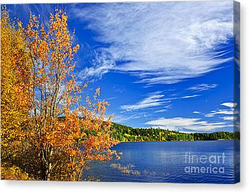 Clouds Canvas Print - Fall Forest And Lake by Elena Elisseeva